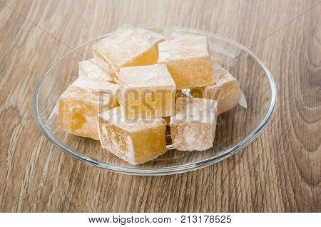 Rakhat-lukum In Transparent Saucer On Table