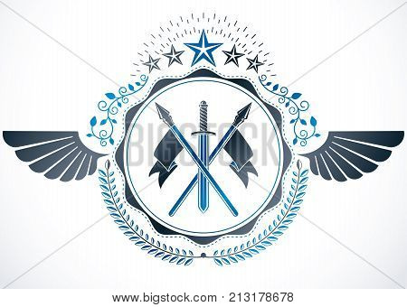 Heraldic coat of arms decorative emblem with wings created using weapon like sword and spears and pentagonal stars.