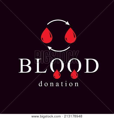 Blood donation vector symbol created with red blood drops and circulation arrows. Volunteer donorship healthcare and medical treatment conceptual logo.