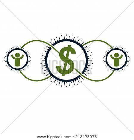Financial System conceptual logo unique vector symbol. Dollar signs circulation of money.