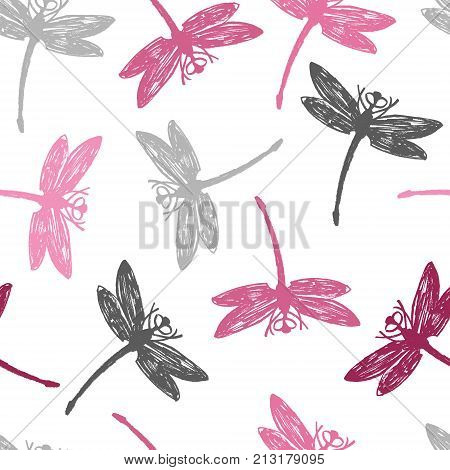 Gray and pink Dragonflies Seamless pattern set