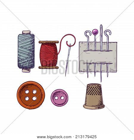 Threads, needles, thimble and buttons, colorful sketch illustration of accessories for sewing. Vector
