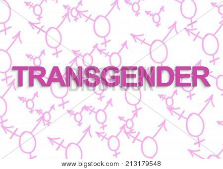 TRANSGENDER text with transgender symbols in shape of heart on the background