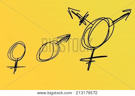 Three types of gender symbols on yellow background: Male, Female and Transgender