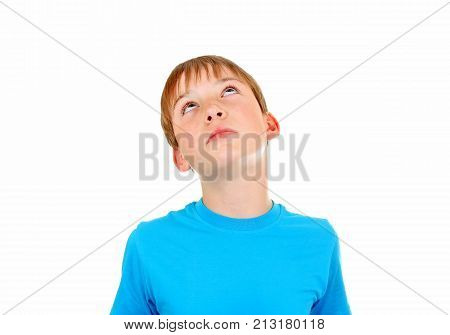Pensive Kid Portrait closeup Isolated on the White Background