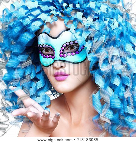 3D woman portrait in mask and bright makeup. Long curly hair. Carnival incognito secret. Conceptual fashion art. Realistic render illustration.
