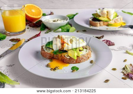 Sandwich, toast with avocado, soft cheese and poached egg on white background.