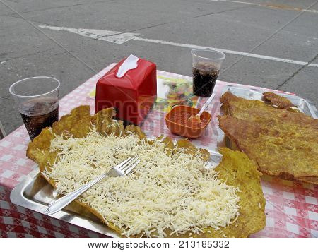 Patacon or toston, fried and flattened pieces of green plantain, traditional snack or accompaniment in the Caribbean, Salento, Colombia, South America