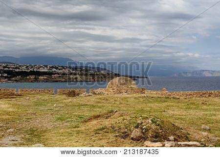 Crete. The city of Rethymnon. Inside the Venetian ancient fortress of Fortezza (Greece) on a cloudy day
