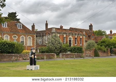 SALISBURY, UNITED KINGDOM -  August 03, 2015: old Salisbury and the Baron sculpture, created to celebrate the 800th anniversary of the Magna Carta on August 03, 2015 in Salisbury, South England