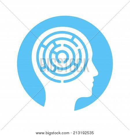 Human head silhouette with maze inside mind complexity psychology concept. Vector icon or logo.