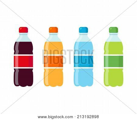 Plastic beverage bottles icon set. Cola orange soda water and green iced tea. Bottled cold drinks flat vector illustration.