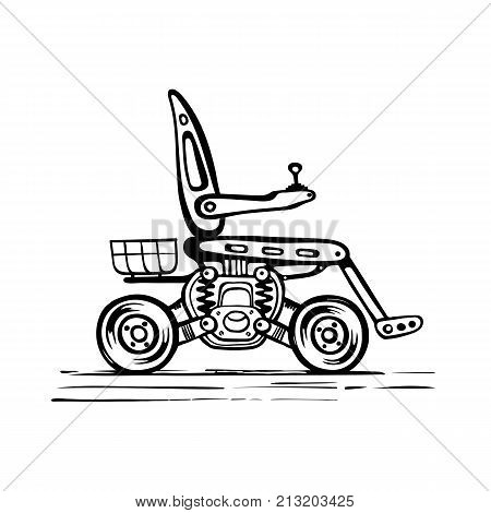 Vector sketch of a mobile scooter. A stroller with a motor. Wheelchair with electric motor on large wheels with a basket.