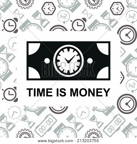 Time is money business metaphor icon. Superannuation illustration. Future profit or beneficiary sign