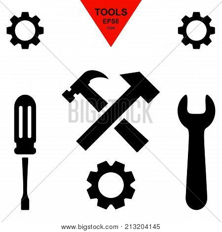 Service tool icons isolated on white background. Options illustration. Settings symbol with gear and spanner
