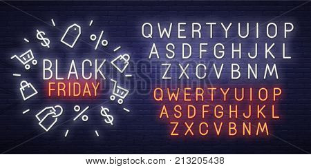 Black Friday neon sign, bright signboard, light banner. Black Friday logo, emblem and label. Neon sign creator. Neon text edit.
