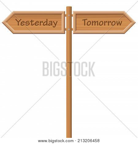 YESTERDAY and TOMORROW, written on two wooden style signposts in opposite direction - symbolic for ancientness and modernity, for being outdated and forward looking, for past and future.