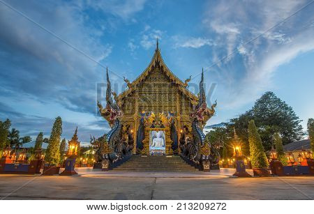 'The Blue Temple' in Chiang Rai, otherwise known as 'Wat Rong Sue Ten' in Thai, The modern Thai architecture style.