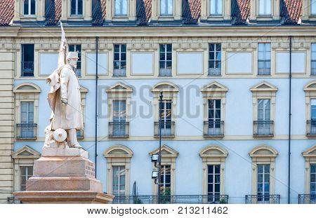 Turin, Italy -  June 24, 2010: The monument in memory of the Esercito Sardo in Castello squre
