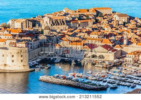 Aerial scenic view at historic city Dubrovnik, famous travel place in Dalmatia region, Europe.