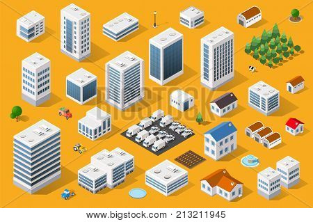 Cityscape design elements with isometric building city map generator. 3D flat icon set. Isolated collection elements for creating your perfect road park transport trees infrastructure industrial
