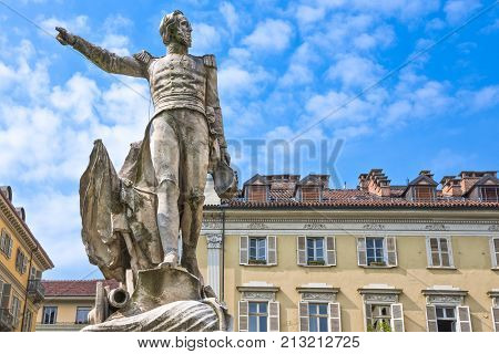 ItalyTurin the monument to Guglielmo Pepe in Maria Teresa square