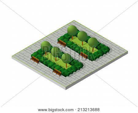 Isometric buildings City Park Furniture. Parkland garden concept with tree bench and sidewalk in 3d flat tridimensional style. Vector illustration.
