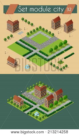 Retro set isometric country college house municipal infrastructure and kit city educational objects