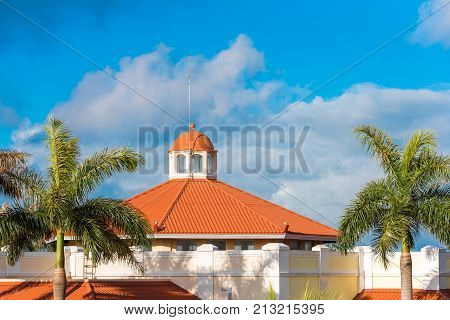 View Of The Hotel Among The Forest, Varadero, Matanzas, Cuba. Copy Space For Text.
