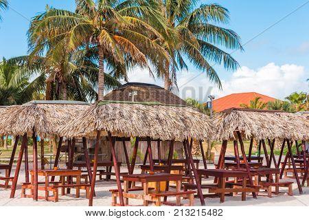 View Of A Gazebos On A Sandy Beach, Varadero, Matanzas, Cuba. Copy Space For Text.