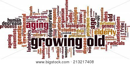 Growing old word cloud concept. Vector illustration