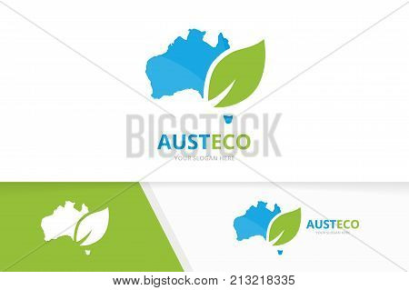 Vector australia and leaf logo combination. Oceania and eco symbol or icon. Unique continent and organic logotype design template.
