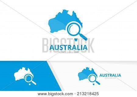 Vector australia and loupe logo combination. Oceania and magnifying symbol or icon. Unique continent and search logotype design template.