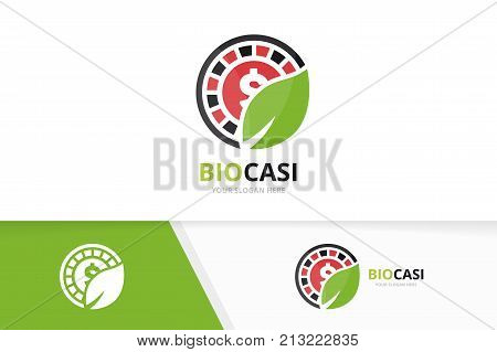 Vector casino and leaf logo combination. Chip and eco symbol or icon. Unique roulette game and organic logotype design template.