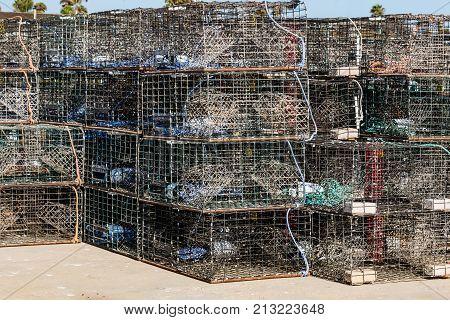 Lobster traps on a dock at Ventura Harbor in Ventura, California