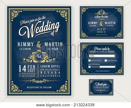 Vintage luxurious wedding invitation on chalkboard background. Include Invitation RSVP card Save the date Thank you card. Vector illustration