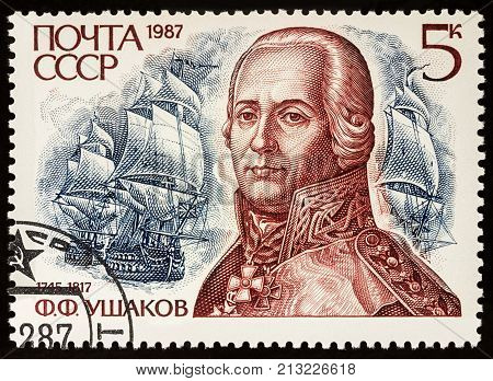 Moscow Russia - November 09 2017: A stamp printed in USSR (Russia) shows portrait of admiral Fedor Ushakov (1745-1817) series