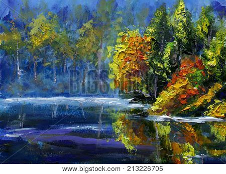 Original oil painting Bright green orange autumn trees reflected in water. Morning landscape is autumn on sea. Nature. River bank. Rural landscape. Handpainted impressionism palette knife painting.