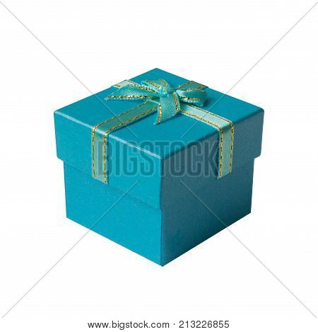 Blue gift box isolated on white background Happy new year & christmas holiday Boxing day sale or father day concept