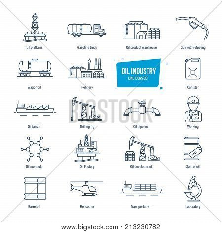 Oil industry thin line icons, pictogram and symbol set. Icons for gas station, oil factory and tanker, transportation, buildings, warehouse, development, modern laboratory. Vector illustration