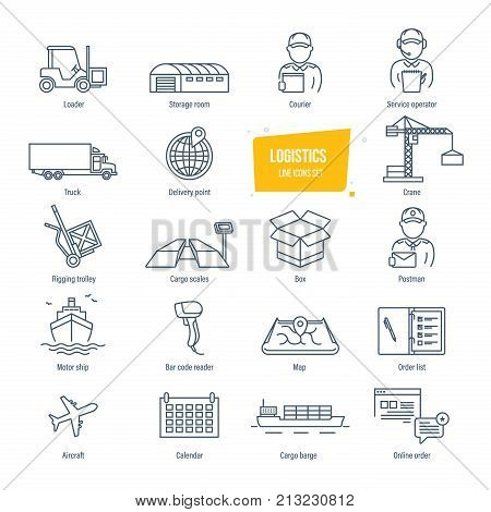 Logistics thin line icons, pictogram and symbol set. Icons for delivery, logistics. Packing, shipping, transportation, tracking, parcel. Transport service employees buildings Vector illustration