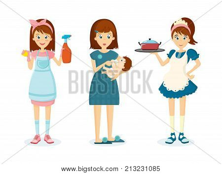 Cartoon character woman. Woman housewife, homemaker engaged of housework. Affairs woman housewife, removes dust at home, feeds and takes care of child, prepares food. Illustration in cartoon style.