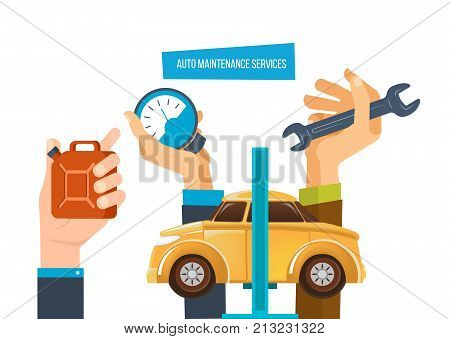 Auto maintenance services concept. Car diagnostic service, auto maintenance test, car repair diagnostics center, equipment. Icons tools, gas canister and spare parts. Vector illustration isolated.