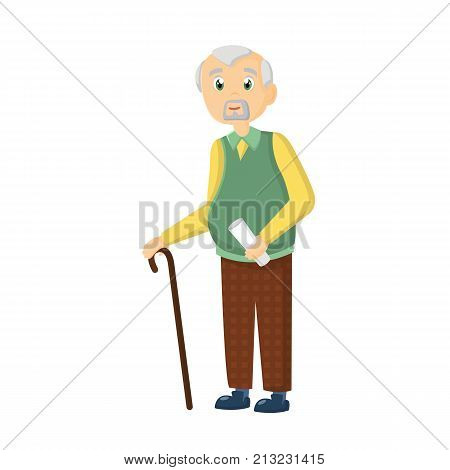 Concept of complete cycle of a person's life from childhood to old age. Elderly man, with a cane and bundle in his hands, in daily clothes, spends his free time. Vector illustration character cartoon person.