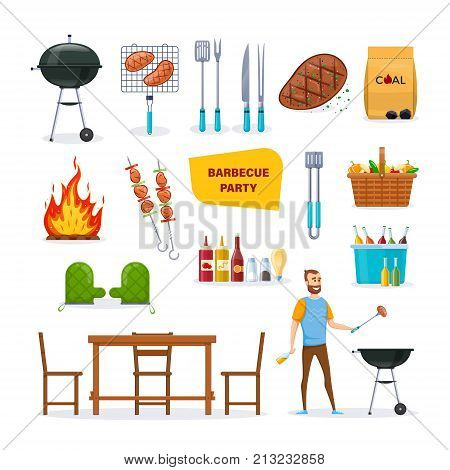 Set for barbecue party. BBQ, mangal with barbecue, cutlery, grill meat, chicken, vegetables, fire, baskets with drinks, food, sauces, restaurant and outdoor party home dinner Vector illustration