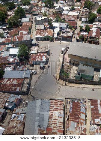 SANTO DOMINGO, DOMINICAN REPUBLIC - APR 14, 2017: Poor neighborhoods next to the Ozama river in Santo Domingo, Dominican Republic