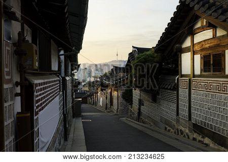 Seoul korea skyline with Bukchon Hanok historic district in Seoul South Korea.