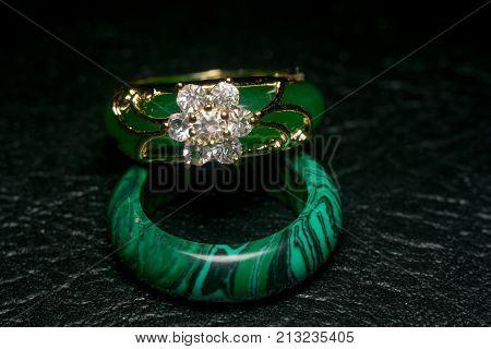 Jade Ring With Diamonds