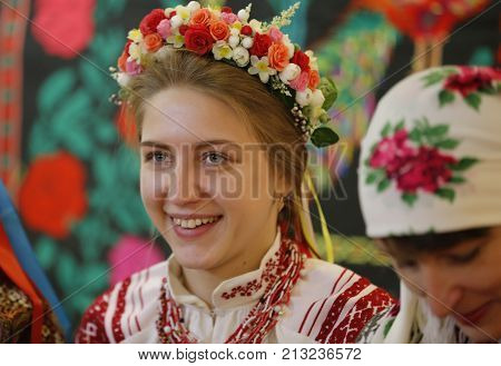 Belarus Gomel Folk Museum 26.11.2016 year..Reconstruction of the traditional wedding ceremony of the 19th century. The girl in national costume. The Belarusian Bride.Ethnic wedding.Authentic bride