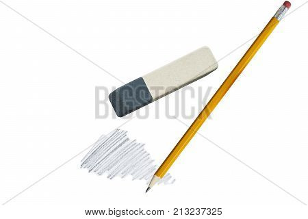 A simple sharpened pencil and eraser on white background, close-up